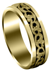 Yellow Gold Celtic Mens Wedding Band | Sand Blast Finish (Everett)