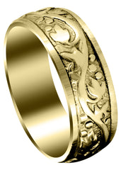 Yellow Gold Antique Mens Wedding Band | Sand Blast / High Polish Finish (Bryson)