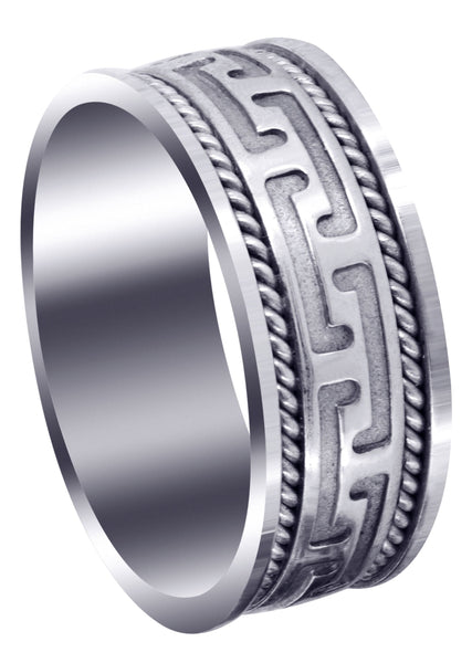 Modern Mens Wedding Band | Sand Blast / High Polish Finish (Jayce)
