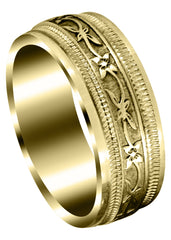 Yellow Gold Antique Mens Wedding Band | High Polish Finish (Cayden)