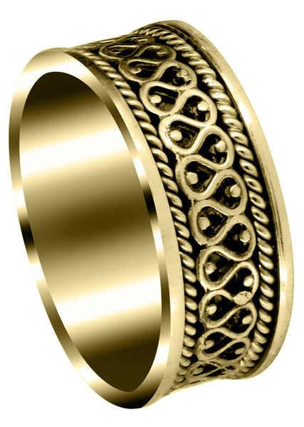 Yellow Gold Celtic Unique Mens Wedding Band | High Polish Finish (Sean)