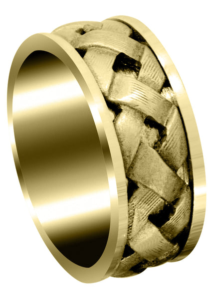 Yellow Gold Contemporary Mens Wedding Band | Satin Finish (Wesley)