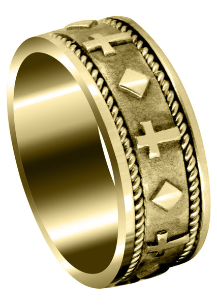 Yellow Gold Religious Mens Wedding Band | Sand Blast / High Polish Finish (Mateo)