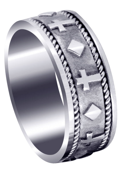 Religious Mens Wedding Band | Sand Blast / High Polish Finish (Mateo)