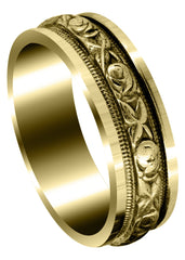 Yellow Gold Antique Unique Mens Wedding Band | Sand Blast / High Polish Finish (Xander)