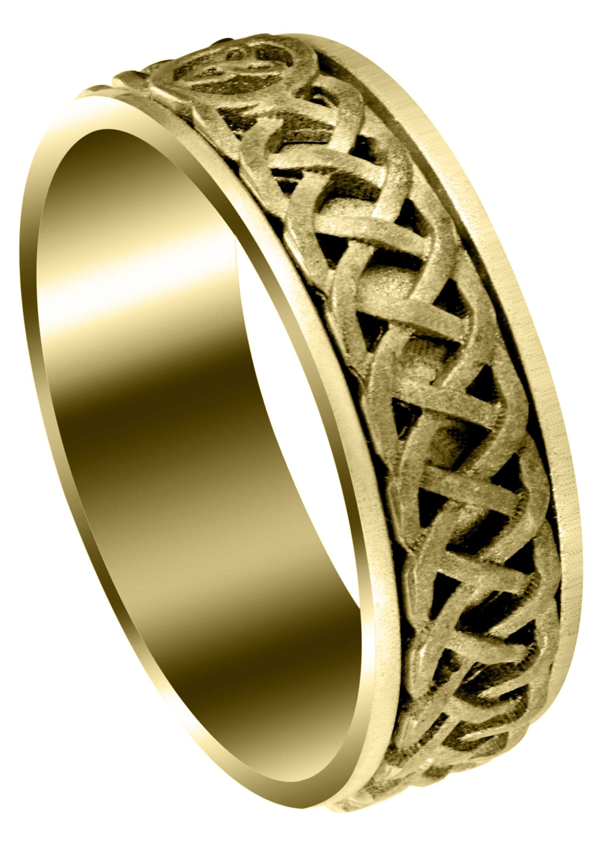 It is a graphic of Yellow Gold Celtic Mens Wedding Band Sand Blast Finish (Cooper