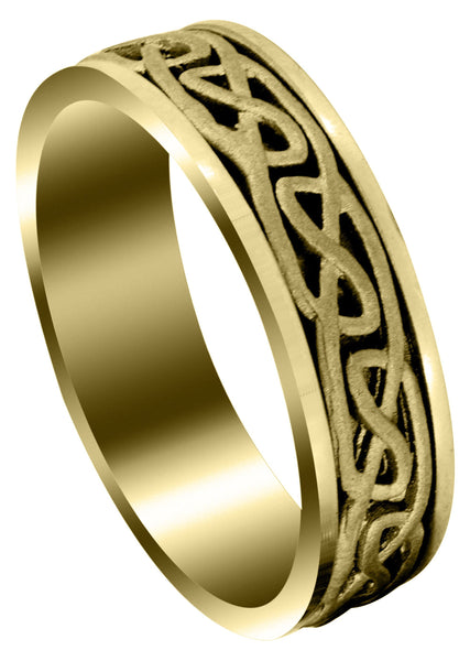 Yellow Gold Celtic Mens Wedding Band | Sand Blast Finish (Ian)