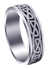 Celtic Mens Wedding Band | Sand Blast Finish (Ian)