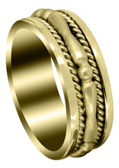 Yellow Gold Contemporary Mens Wedding Band | Sand Blast Finish (Knox)