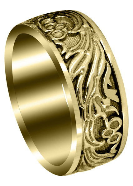 Yellow Gold Antique Unique Mens Wedding Band | High Polish Finish (Jake)