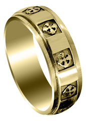 Yellow Gold Celtic Mens Wedding Band | Sand Blast / High Polish Finish (Nicolas)