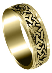 Yellow Gold Celtic Mens Wedding Band | Sand Blast / High Polish Finish (Jaden)