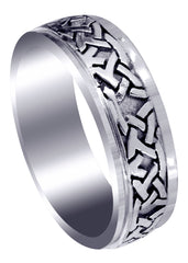 Celtic Mens Wedding Band | Sand Blast / High Polish Finish (Jaden)