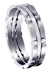 Contemporary Mens Wedding Band | Satin / High Polish Finish (Brady)