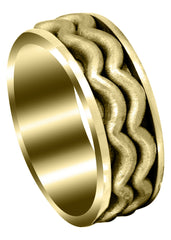 Yellow Gold Contemporary Mens Wedding Band | Sand Blast Finish (Maximus)