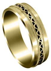 Yellow Gold Contemporary Mens Wedding Band | Satin Finish (Riley)