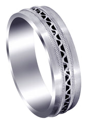 Contemporary Mens Wedding Band | Satin Finish (Riley)