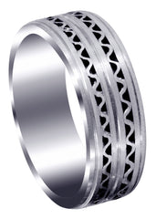 Contemporary Mens Wedding Band | Satin Finish (Zayden)