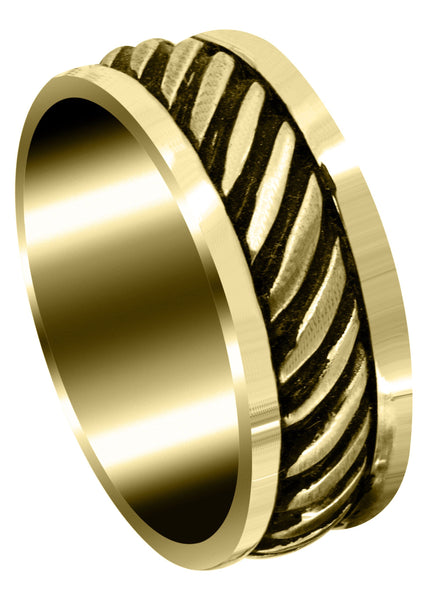 Yellow Gold Hand Woven Unique Mens Wedding Band | Satin Finish (Caden)