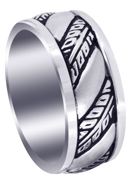 Fancy Carved Hand Engraved Diamond Mens Wedding Band | Satin Finish (Devin)