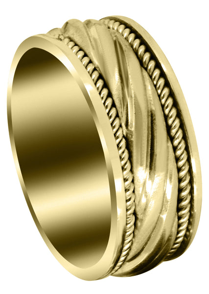 Yellow Gold Hand Woven Unique Mens Wedding Band | Satin Finish (Matteo)