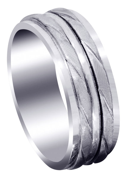Hand Woven Mens Wedding Band | Cross Satin Finish