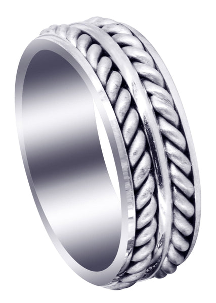 Hand Woven Mens Engagement Ring | Cross Satin Finish (Erick)