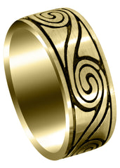 Yellow Gold Celtic Unique Mens Wedding Band | High Polish Finish (Maverick)