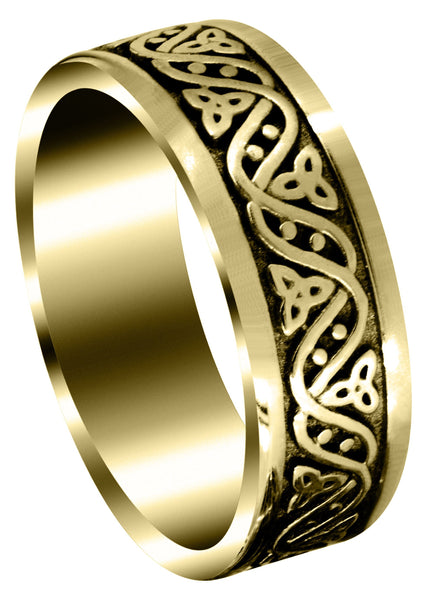 Yellow Gold Celtic Mens Wedding Band | Sand Blast / High Polish Finish (Alejandro)