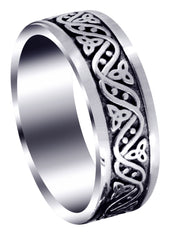 Celtic Mens Wedding Band | Sand Blast / High Polish Finish (Alejandro)