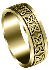 Yellow Gold Celtic Mens Wedding Band | Sand Blast / High Polish Finish (Kaden)