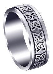Celtic Mens Wedding Band | Sand Blast / High Polish Finish (Kaden)