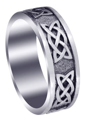 Celtic Mens Wedding Band | Sand Blast / High Polish Finish (Jesse)