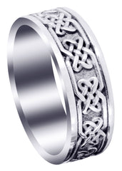 Celtic Mens Wedding Band | Sand Blast / High Polish Finish (Grant)