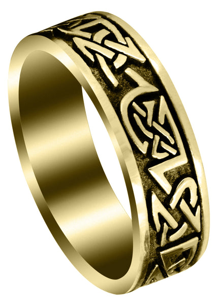 Yellow Gold Celtic Mens Wedding Band | Sand Blast / High Polish Finish (Graham)