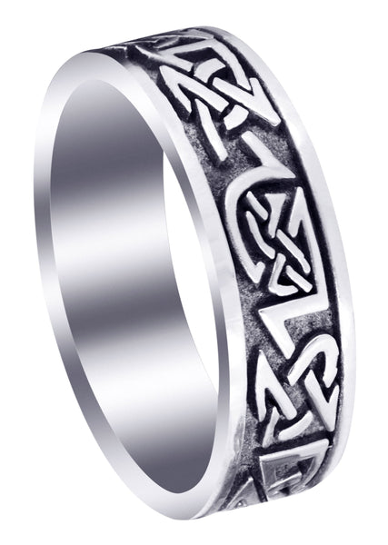 Celtic Mens Wedding Band | Sand Blast / High Polish Finish (Graham)