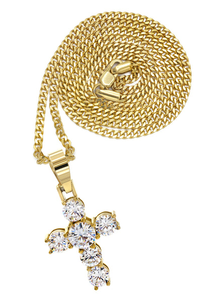 Mens Gold Plated Cuban Link Chain & Cross Pendant | Appx. 19.5 Grams