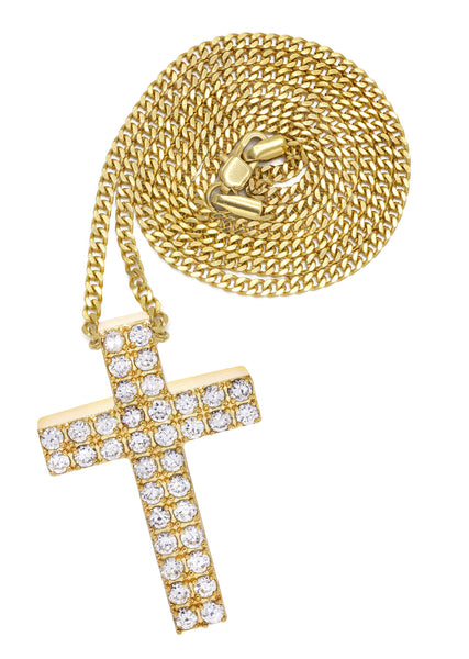 Mens Gold Plated Cuban Link Chain & Cross Pendant | Appx. 20 Grams