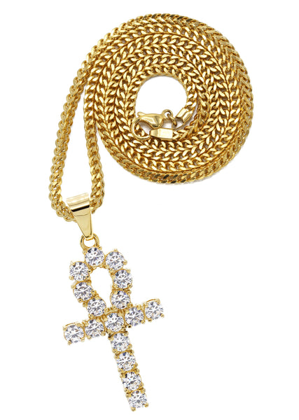 Mens Gold Plated Franco Chain & Ankh Pendant | Appx. 14.2 Grams