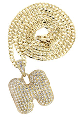 "10K Yellow Gold Cuban Chain & Bubble Letter ""H"" Cz Pendant 