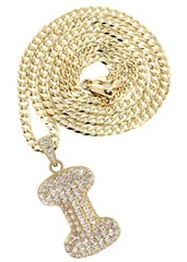"10K Yellow Gold Cuban Chain & Bubble Letter ""I"" Cz Pendant 