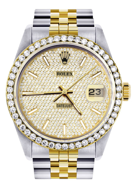 Diamond Gold Rolex Watch For Men 16233 | 36MM | Full Diamond Dial | Jubilee Band