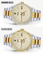 Diamond Gold Rolex Watch For Men 16233 | 36 MM | Full Diamond Dial | Oyster Band