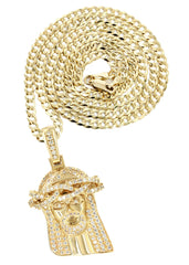 14K Yellow Gold Jesus Head Diamond Pendant & Cuban Chain | 3 Carats