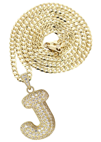 "10K Yellow Gold Cuban Chain & Bubble Letter ""J"" Cz Pendant 