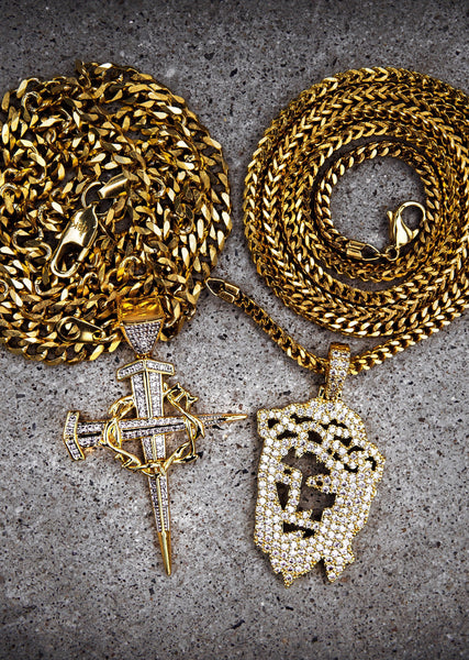 Gold Plated Iced Out Jesus Piece & Cross With Cuban Chain & Franco Chain