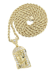 10K Yellow Gold Rope Chain & Cz Jesus Head Pendant | Appx. 13.5 Grams