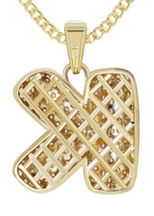 "10K Yellow Gold Cuban Chain & Bubble Letter ""K"" Cz Pendant 