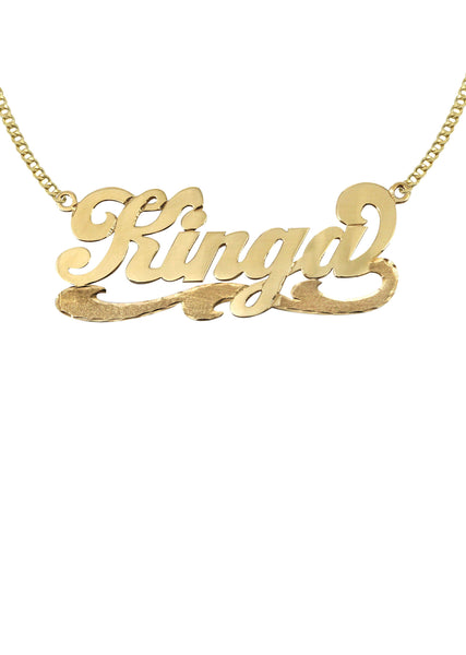 14K Ladies Plain with Diamond Cut Name Plate Necklace | Appx. 7.4 Grams