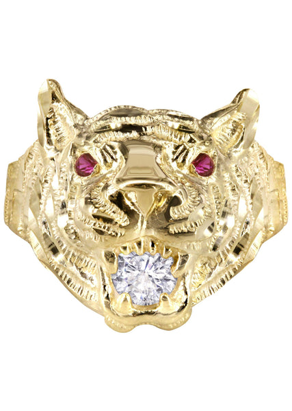 10K Yellow Gold Tiger style Mens Ring. | 6.1 Grams